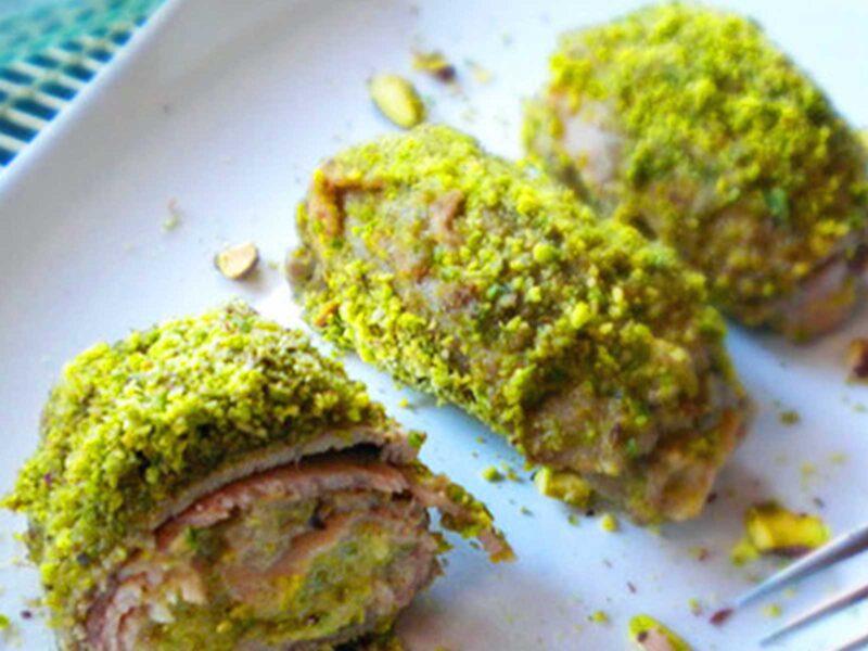 Involtini di arista con ricotta e pistacchio